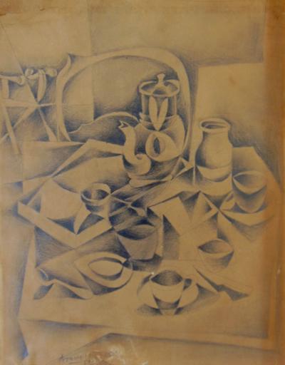 Gottlieb Michael ARAM - Drawing-Watercolor - Cubistic Still life
