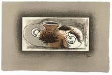 Georges BRAQUE - Estampe-Multiple - Théière sur fond gris