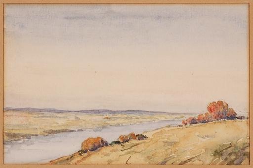"""Marino LUSY - Dessin-Aquarelle - Marino M.Lusy (1880-1953), """"Riverscape"""", Watercolor, 1900's"""