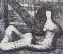 Henry MOORE (1898-1986) - Reclining Figure Piranesi Background III