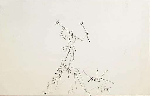 Salvador DALI - Dibujo Acuarela - Study for the sculpture Mercurio