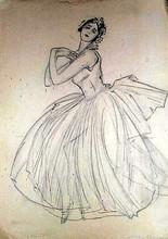 Mstislav Valerianovic DOBUZINSKIJ - Drawing-Watercolor - Portrait of a dancer Clotilde Sakharova