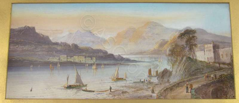 Lennard LEWIS - 水彩作品 - Lake view in Northern Italy / Southern Switzerland