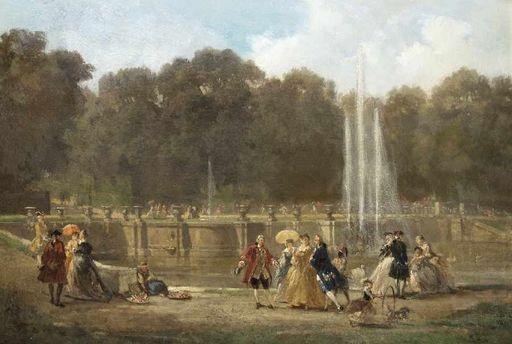 Ludwig VON HAGN - Pintura - Rokokogesellschaft im Schloßpark von Sanssouci