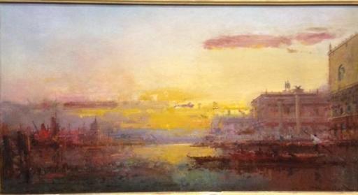 Henri DUVIEUX - Pintura - Venise au couchant