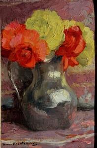 """Henri MONTASSIER - Painting - """"BOUQUET DE ROSES AU PICHET D'ETAIN"""""""