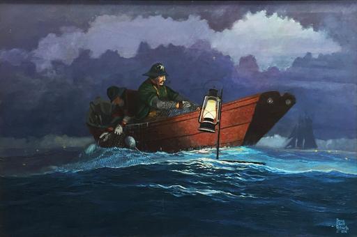 Bruce Elliot ROBERTS - 绘画 - Setting The Gill Net Lanterns