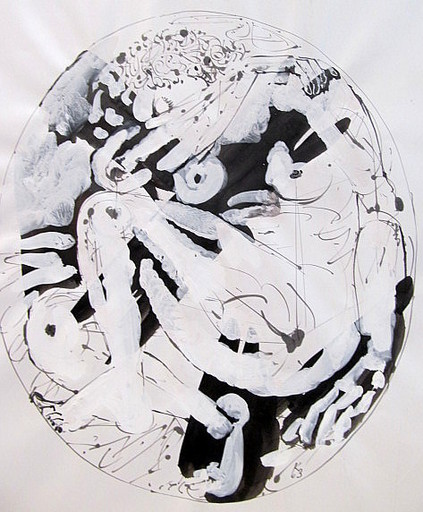 Karl KLUTH - Dibujo Acuarela - Schlaf - Tondo.