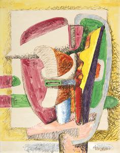 LE CORBUSIER - Dessin-Aquarelle - Composition. Étude pour une sculpture