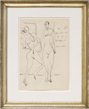 基希纳 - 水彩作品 - Zwei tanzende weibliche Akte im Atelier