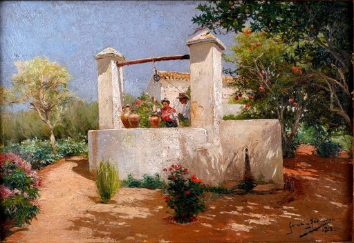 Manuel GARCIA Y RODRIGUEZ - Painting - Flirting at the Well