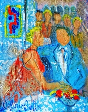 Valerio BETTA - Painting - Coppia innamorata e curiosi