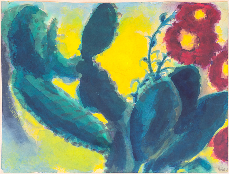 Emil NOLDE - Drawing-Watercolor - Kaktus mit roten Blüten