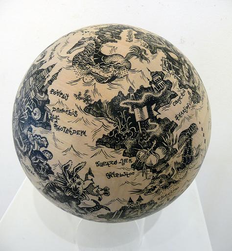 Claire FANJUL - Drawing-Watercolor - Sphère Utopia au requin marteau
