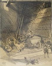 "Robert FUCHS - Drawing-Watercolor - ""Chicken Coop"" by Robert Fuchs"