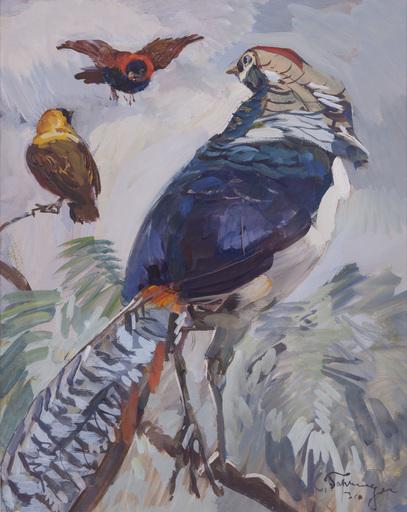 """Carl FAHRINGER - Peinture - """"Exotische Vögel"""""""