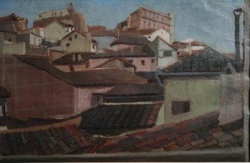 Odette DERAY - 水彩作品 - Les toits de Tolède et l'Alcazar