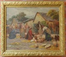 Lajos DEAK-EBNER - Painting - The potter's market