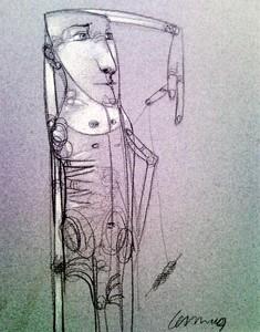 Pedro Pablo RODRIGUEZ OLIVA - Disegno Acquarello - Hombre con una Bola de Hilo (Man with a Ball of Yarn)