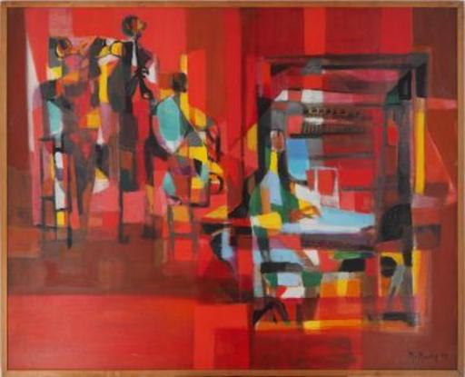 Marcel MOULY - Painting - New Orleans Jazz Band on red background