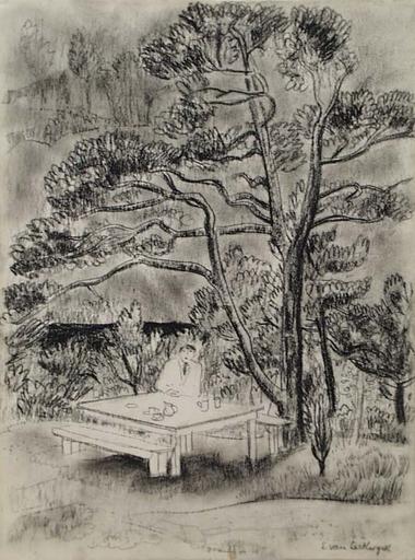"Edith CAMPENDONK-VAN LECKWYCK - Dessin-Aquarelle - ""At Garden Table"" , ca 1925"