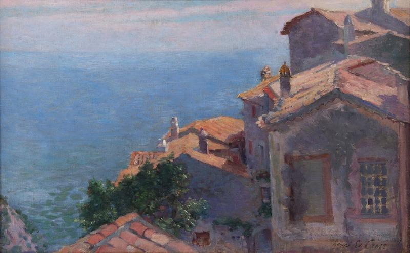 亨利•埃得蒙•克洛斯 - 绘画 - Village au bord de la Méditerranée, Eze