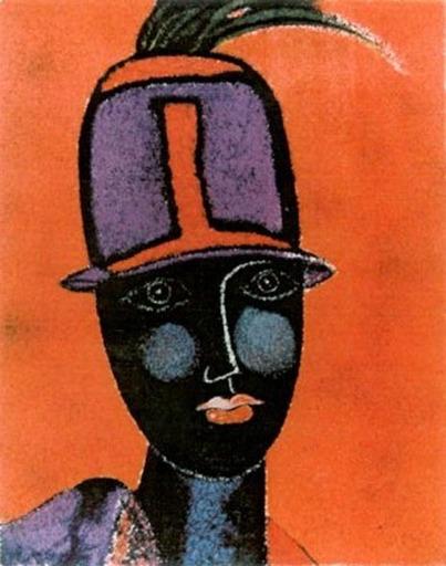 Franco GENTILINI - Druckgrafik-Multiple - Testa con cappello rosso