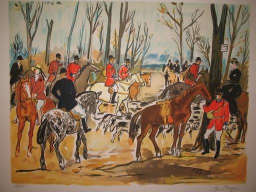Yves BRAYER - Grabado - La chasse à courre,1974.
