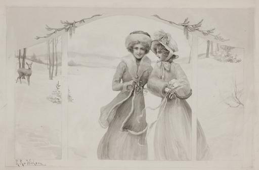 """Raimund VON WICHERA - Drawing-Watercolor - """"Christmas"""" by Raimund von Wichera, ca 1900"""