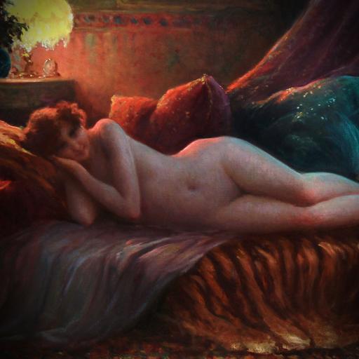 Charles Allan GILBERT - Pintura - Nu allongé sur un divan