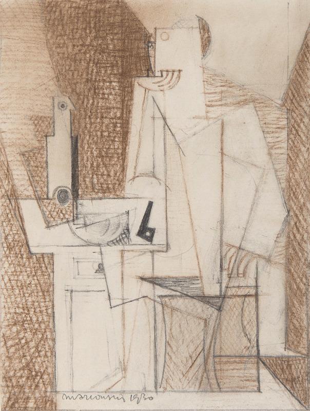Louis MARCOUSSIS - Disegno Acquarello - Portrait de Georges Hugnet