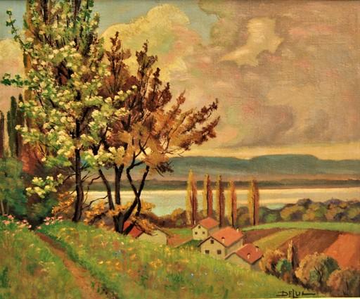 John Henri DELUC - Pintura - Printemps à Hermance lac Leman  Suisse