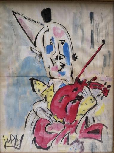 GEN PAUL - Disegno Acquarello - Clown violoniste