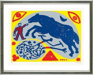 A.R. PENCK - Estampe-Multiple - Das blaue Pferd und der Mongole