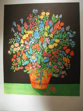 Michel LOEB - Grabado - Bouquet multicolore,1989.