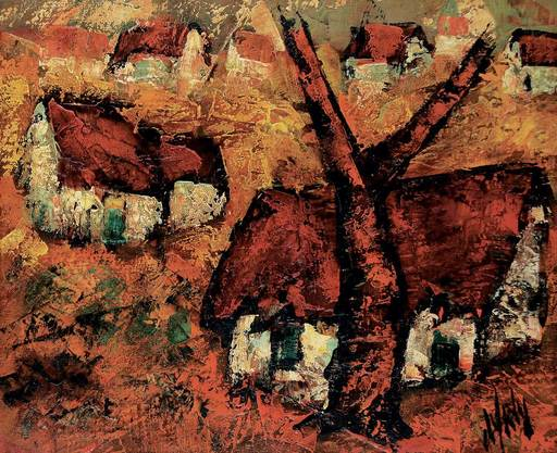 Henry Maurice D'ANTY - Pintura - Untitled - Red Roofs