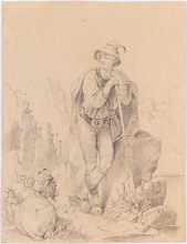 "August GERASCH - Dibujo Acuarela - ""Tyrolean Shepherd"", Drawing, middle 19th Century"