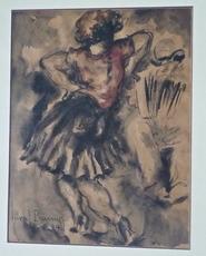 Marcel PRUNIER - Dessin-Aquarelle - Danseuse à l'accordéon
