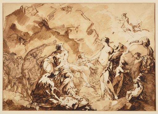 André Jean LEBRUN - Disegno Acquarello - Vénus demandant à Vulcain des armes pour Énée