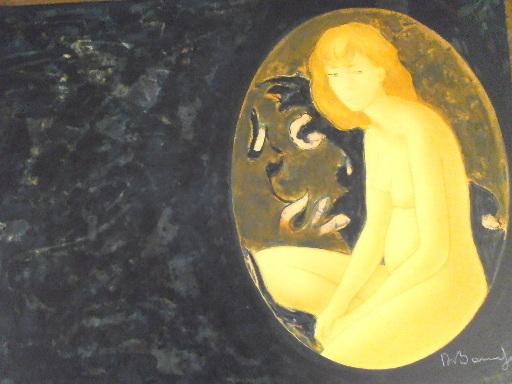 """Alain BONNEFOIT - 版画 - """"Nu dans un ovale"""",1990."""