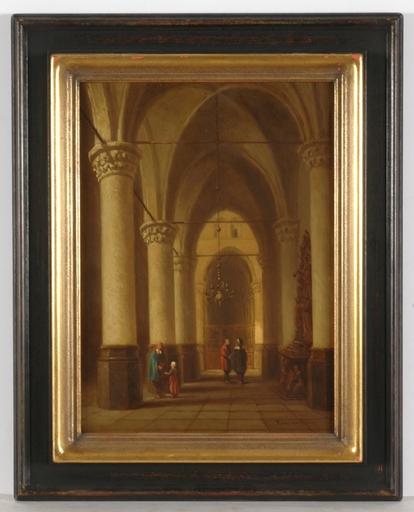 Pierre Henri T. TETAR VAN ELVEN - Pintura - Church Interior, oil on panel, 2 H. of the 19th Century