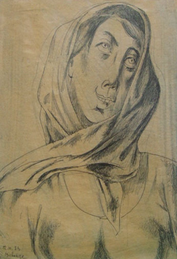 Grégoire MICHONZE - Drawing-Watercolor - Woman  with Scarf
