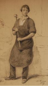 Charles BRIAS - Zeichnung Aquarell - A young blacksmith