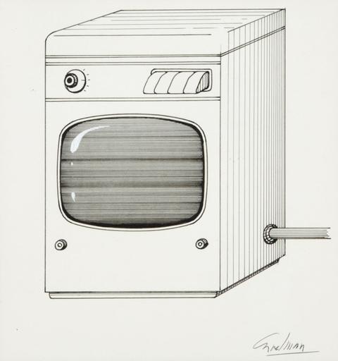 Jacques CARELMAN - Drawing-Watercolor - DESSIN ORIGINAL SIGNE LA MACHINE A LAVER-TELEVISEUR