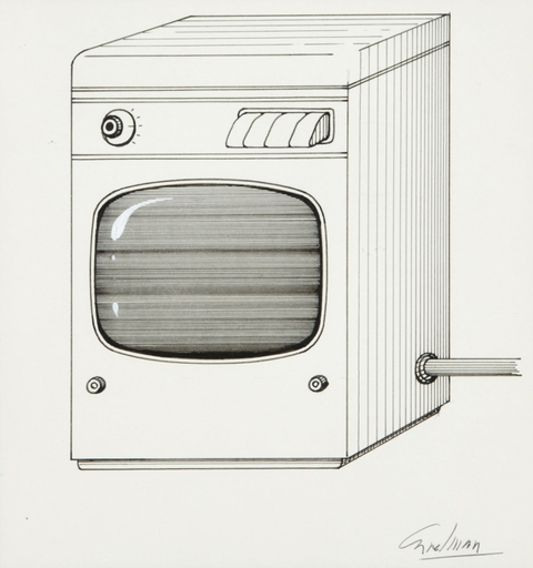 Jacques CARELMAN - Dibujo Acuarela - DESSIN ORIGINAL SIGNE LA MACHINE A LAVER-TELEVISEUR