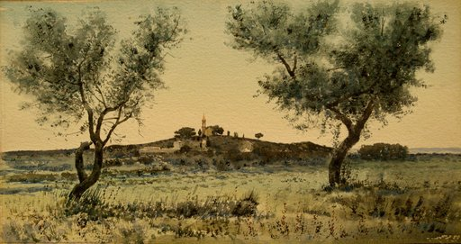 "Alphonse REY - Drawing-Watercolor - ""AUBE EN PROVENCE"""