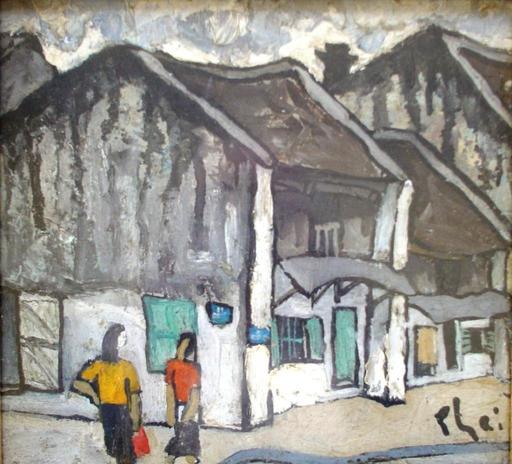 Xuan Phai BUI - Painting - hanoi street, two girls chatting