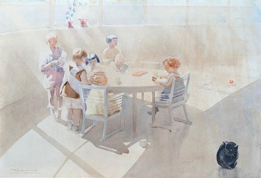 Ernesto Giuliano ARMANI - Dibujo Acuarela - Giochi di bimbi
