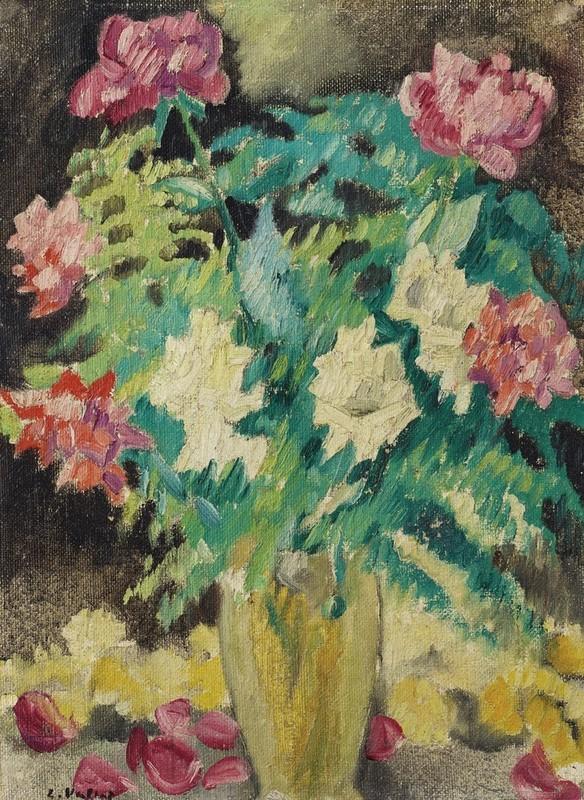 Louis VALTAT - Peinture - Vase en cristal et roses