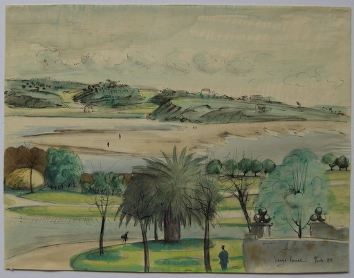 Henri VERGÉ-SARRAT - Disegno Acquarello - DESSIN PORTO 1931 SIGNÉ À LA MAIN HANDSIGNED DRAWING BELGIQU
